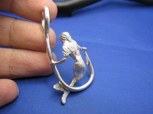 Sterling Silver Mermaid Sitting and Holding Fishermen's Fish Hook