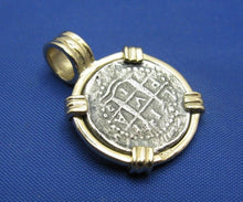 "Load image into Gallery viewer, Small ""1 Reale"" Quality Reproduction of Atocha Shipwreck Coin in 14k Yellow Gold  Bezel with Barrel Bail Handmade by Crisol Jewelry"