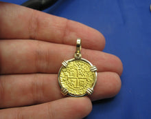 Load image into Gallery viewer, 24k Gold 2 Escudo Sized Reproduction in 14k Gold Bezel