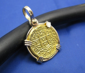 24k Gold 2 Escudo Sized Reproduction in 14k Gold Bezel