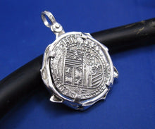 "Load image into Gallery viewer, Sterling Silver Custom Shark Wrapped Bezel with Reproduction ""2 Reale"" Shipwreck Coin"