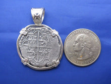 "Load image into Gallery viewer, Sterling Silver Hand Bezeled ""4 Reale"" Pirate Reproduction Coin Pendant with Stationary Bail 1.5"" x 1.1"""