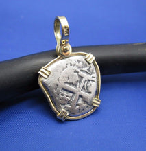 "Load image into Gallery viewer, Small ""1 Reale"" Pirate Coin Reproduction Cobb Pendant with Custom Yellow Gold 14k Bezel by Crisol Jewelry (Atocha Shipwreck Replica)"