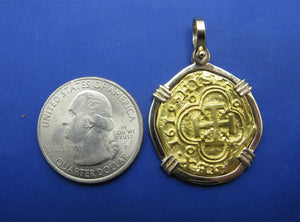 Pure 24k '2 Escudo' Replica Atocha Coin in 14k Bezel with Shackle Bail (Rare Visible Dated Markings)