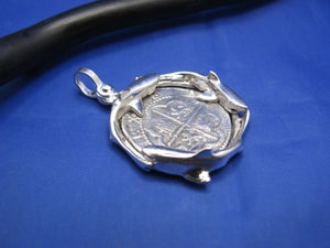 "Sterling Silver Custom Shark Wrapped Bezel with Reproduction ""2 Reale"" Shipwreck Coin"