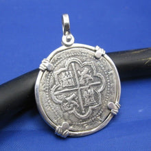 "Load image into Gallery viewer, Shipwreck ""4 Reale"" Treasure Coin Reproduction Pendant in Sterling Silver 1.6"" x 1.1"""
