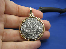 "Load image into Gallery viewer, New 'Piece of 8' Replica Pirate Cob in Solid 14k Gold Pendant Bezel (Large: 1.75"" x 1.25"") Shipwreck Coin Collection by Crisol Jewelry"