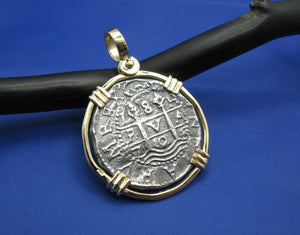 "New 'Piece of 8' Replica Pirate Cob in Solid 14k Gold Pendant Bezel (Large: 1.75"" x 1.25"") Shipwreck Coin Collection by Crisol Jewelry"