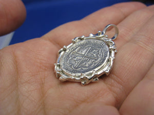 "Sterling Silver Graveyard Skeleton Bone Wrapped Bezel with Reproduction ""1 Reale"" Pirate Treasure Coin Cob Necklace (Shipwreck Jewelry)"