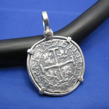 "Load image into Gallery viewer, Sterling Silver Pirate Doubloon ""2 Reale"" Shipwreck Coin Pendant Replica with Shackle Bail 1.5"" x 1"""