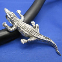 Load image into Gallery viewer, Large Men's Sterling Silver Alligator Pendant with Realistic Detailing