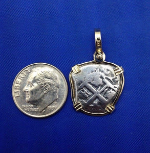 "Small ""1 Reale"" Pirate Coin Reproduction Cobb Pendant with Custom Yellow Gold 14k Bezel by Crisol Jewelry (Atocha Shipwreck Replica)"