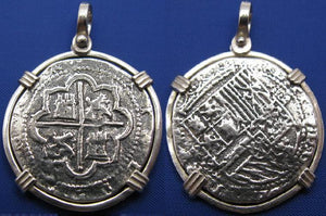 "Shipwreck ""4 Reale"" Treasure Coin Reproduction Pendant in Sterling Silver 1.6"" x 1.1"""