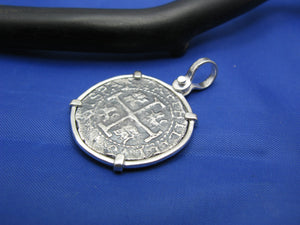 "Sterling Silver Pirate Doubloon ""2 Reale"" Shipwreck Coin Pendant Replica with Shackle Bail 1.5"" x 1"""