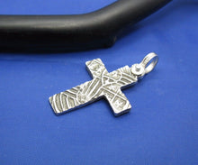 "Load image into Gallery viewer, Sterling Silver Unique Artisan Handcrafted Custom Cross Pendant (1.5"" x 0.75"")"