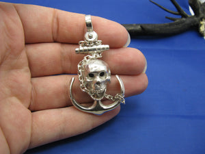 Large Sterling Silver Chain Wrapped Skull and Anchor Pendant