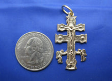 "Load image into Gallery viewer, 14k Gold Religious Caravaca Cross Pendant 1.5"" x 0.75"""