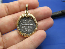 Load image into Gallery viewer, 14k Gold Shark Jaw Bezel with Atocha Shipwreck Coin Replica
