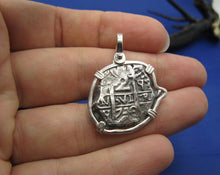 "Load image into Gallery viewer, Sterling Silver ""2 Reale"" Odd Shaped Replica Doubloon Pendant"