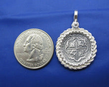 "Load image into Gallery viewer, Sterling Silver Beaded Rope Bezel with Reproduction ""1 Reale"" Pirate Treasure Coin"