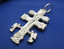 "Load image into Gallery viewer, Sterling Silver Handmade Religious Caravaca Cross Pendant 1.5"" x 0.75"""