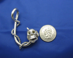 Sterling Silver Extra Large Nautical Rope Wrapped Fish Hook Pendant with Skull