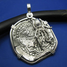 Load image into Gallery viewer, Extra Large Sterling Silver Replica Piece of Eight Doubloon Pendant with Octopus