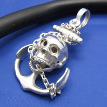 Load image into Gallery viewer, Large Sterling Silver Chain Wrapped Skull and Anchor Pendant