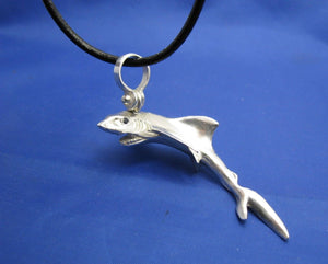 Large Oversized Sterling Silver Great White Shark Pendant