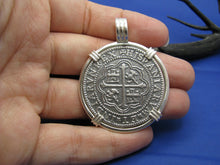 "Load image into Gallery viewer, Extra Large Sterling Silver Piece of Eight Pendant with Barrel Bail 1.9"" x 1.5"""