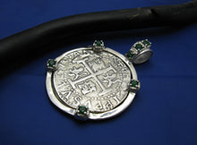 "Load image into Gallery viewer, Nautical Sterling Silver Embellished Shipwreck ""4 Reale"" Pirate Treasure Coin Replica Pendant Necklace w/t Green Emerald Synthetic Gemstones"