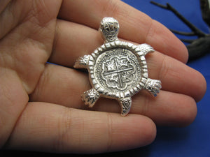 Sterling Silver Sea Turtle Pendant with Reproduction Shipwreck Cobb