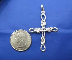 Sterling Silver Sailor's Knot Rope Cross Pendant