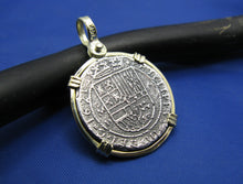 "Load image into Gallery viewer, Sterling Silver and 14k ""2 Reale"" Reproduction Atocha Shipwreck Treasure Coin Necklace"