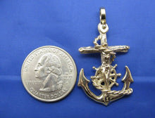 Load image into Gallery viewer, 14k Gold Diver's Mariners Cross Pendant