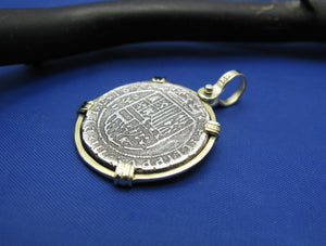 "Sterling Silver and 14k ""2 Reale"" Reproduction Atocha Shipwreck Treasure Coin Necklace"