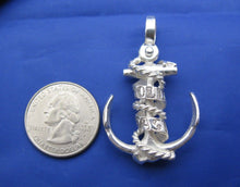 Load image into Gallery viewer, Large Sterling Silver Hold Fast Word Ribbon Banner & Rope Sailor Ship Anchor Necklace
