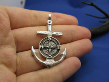 Load image into Gallery viewer, Sterling Silver Nautical Wood Anchor and Compass Pendant with Shackle Bail, Original Design by Crisol Jewelry, Unique Sea Jewelry Necklace