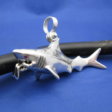 Load image into Gallery viewer, Extra Large Jaws Inspired Shark Attacking Diver Sterling Silver Necklace