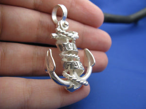 Large Sterling Silver Hold Fast Word Ribbon Banner & Rope Sailor Ship Anchor Necklace