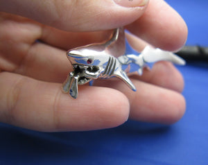 Extra Large Jaws Inspired Shark Attacking Diver Sterling Silver Necklace