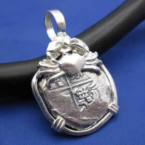 "Sterling Silver Hand Bezeled ""2 Reale"" Shipwreck Reproduction Coin Pendant with Faded Markings and Crab"