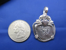 "Load image into Gallery viewer, Sterling Silver Hand Bezeled ""2 Reale"" Shipwreck Reproduction Coin Pendant with Faded Markings and Crab"