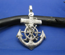 Load image into Gallery viewer, Large Men's Sterling Silver Diver's Mariner Wooden Cross Anchor Pendant