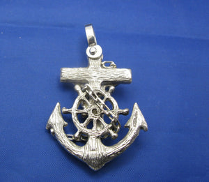 Large Men's Sterling Silver Diver's Mariner Wooden Cross Anchor Pendant