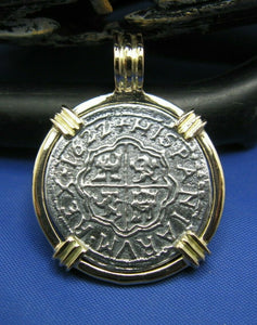 14k Gold Replica Pirate 2 Reale Doubloon Pendant With Barrel Bail