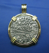 Load image into Gallery viewer, 14k Gold Replica Pirate 2 Reale Doubloon Pendant With Barrel Bail