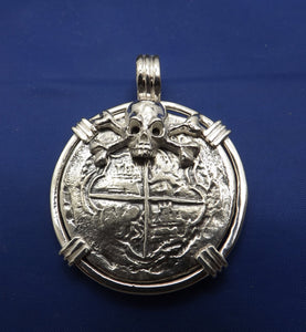 Extra Large Sterling Silver Piece of Eight With Skull Bezel and Barrel Bail