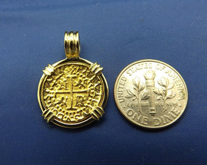 "Small ""1 Escudo"" Quality Reproduction  24kt Solid Gold Atocha Shipwreck Coin inside 14k Yellow Gold  Bezel with Barrel Bail Nautical Pendant"