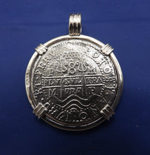Load image into Gallery viewer, Extra Large Sterling Silver Piece of Eight With Skull Bezel and Barrel Bail